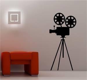 Online Design Cine Trípode Cámara Adhesivo Pared Vinilo Lounge - Negro