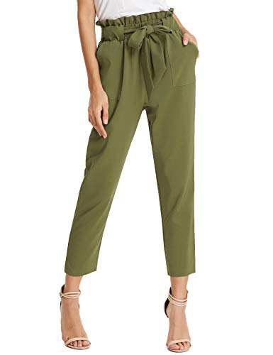 KANCY KOLE Women's Dress Slacks Elastic Waist Paperbag Trouser Loose Solid Pants with Pockets (Army Green,M)