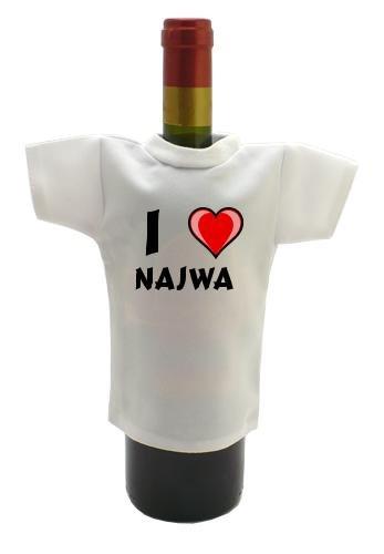 Camiseta blanca para botella de vino con Amo Najwa (nombre de pila/apellido/apodo)