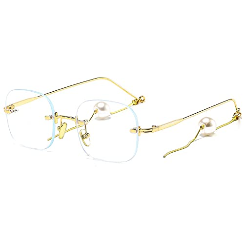 Gafas de sol azul luz lectura sin montura gafas de sol mujeres perla transparente gafas de sol hombres moda diseñador sombras para las mujeres ordenador gafas