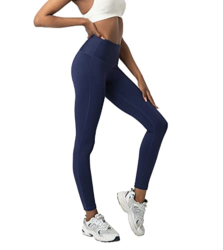 LAPASA Leggins Mujer Cintura Alta, Pantalón Deportivo Elástico, Mallas de Deporte Yoga, Leggings Largo Push Up L01A1 XXL Azul Marino
