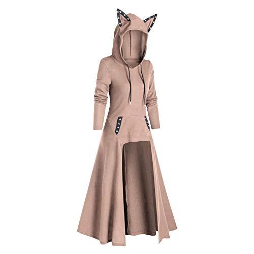 Calvinbi Damen Katzenohren Kapuze Plus Size Vintage Umhang High Low Sweater Bluse...