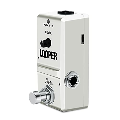 Rowin Looper - Pedales para guitarra eléctrica con efecto loop con puerto de tarjeta de memoria, bucles ilimitados, grabación de tiempo real de 10 minutos