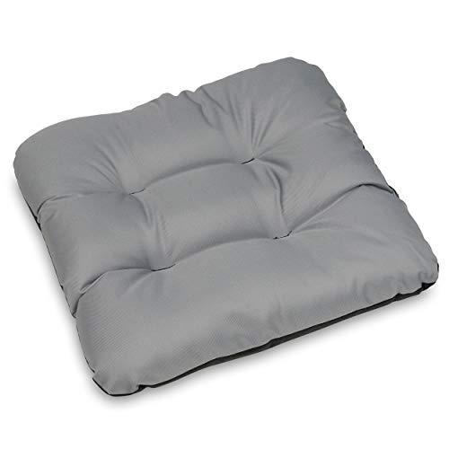 SuperKissen24 Stuhlkissen Sitzkissen für stühle - 6er Set 45x45 cm - Outdoor und Indoor - grau