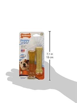 Nylabone Set de 2 Jouet à Mâcher Os Arôme Poulet/Os Arôme Beurre de Cacahuètes pour Les Tout Petits Chiens Jusqu'à 7 kg