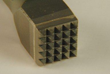 Handstockeisen mit Hartmetallformplatte, Stockeisen, 25 x 25 mm, 5 x 5 Zähne