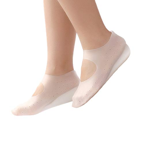 Silicone Boat Socks, New Silicone Heel Protectors, Concealed Footbed Enhancers, Breathable Increased Heel Cover, Anti Dry Feet Moisturizing Pad for Men and Women 1Pair white without holes Female