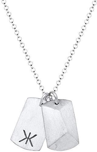 Kuzzoi Halskette für Herren mit Zwei Dog-Tag Anhänger im Armeestil in echten 925 Sterling Silber, Männer Kette mit Erkennungsmarke Hundemarke im US Army Stil, Länge 50cm, 0101750719_50