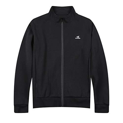KOOFIN GEAR Unisex Full Zip Mock Neck Cadet Collar Sweatshirt Casual Jacket Sportswear Soft Cotton, 3X-Large Black