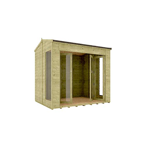 8 x 6 Pressure Treated Cannes Summerhouse Tongue & Groove Shiplap Cladding Construction Wide Double French Door 2.43m x 1.82m