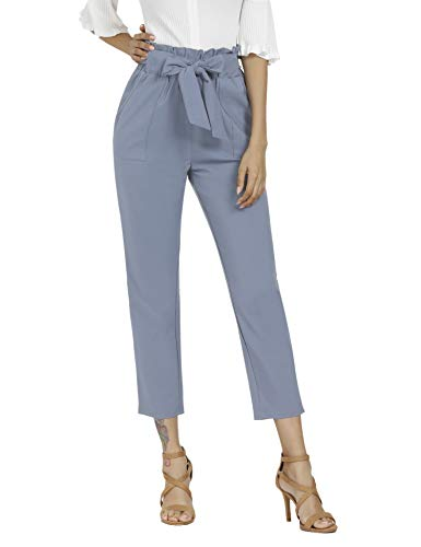 Freeprance Women's Pants Casual Trouser Paper Bag Pants Elastic Waist Slim Pockets XGR_L Gray