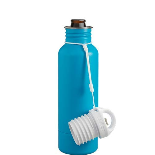 BottleKeeper - The Standard 2.0 - The Original Stainless Steel Bottle Holder and Insulator to Keep Your Beer Colder (Caribbean Blue)