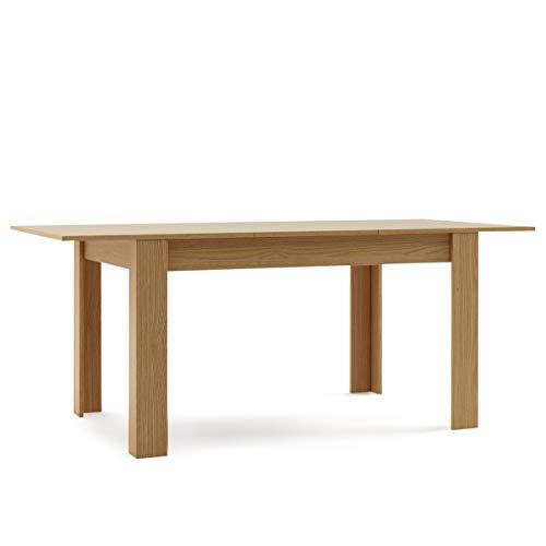 Mc Haus GROTTA - Mesa Comedor Extensible Madera salón, Mesa Cocina diseño Nórdico y patas de madera Natural 140/190x90x78cm