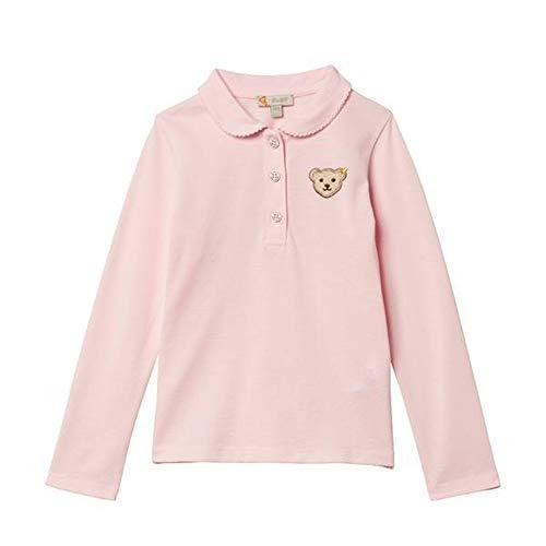 Steiff unisex-child longsleeve Poloshirt Langarm für Mädchen in Rosa und Weiß, 122