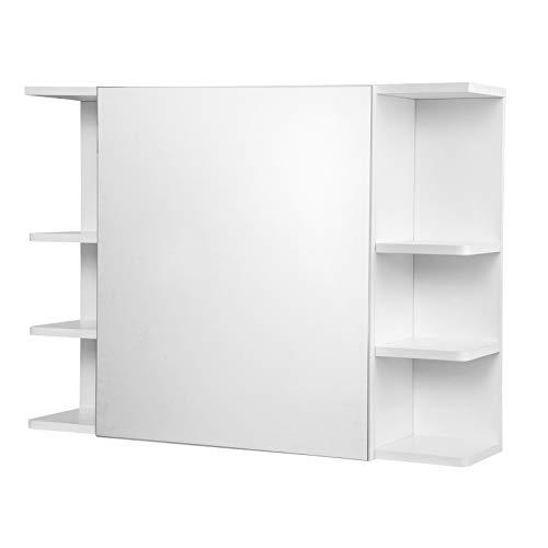 eSituro SBP0058 Spiegelschrank Badspiegel Hängeschrank mit Tür Wandschrank Badschrank mit Ablagen Bad Flur Wohnzimmer Weiß 80x20x60cm