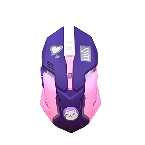 Lovely Gaming Mouse,Rechargeable 2.4Ghz Wireless Mice with USB Receiver,7 Colors Backlit, Silent Buttons for MacBook, Computer PC, Laptop (600Mah Lithium Battery) (Luna CAT) -Purple