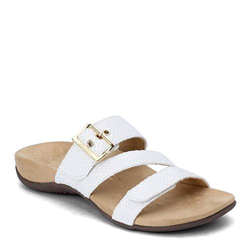 Vionic Women's Rest Skylar Slide Sandal- Adjustable Walking Sandals with Concealed Orthotic Arch Support White Snake 8 M US