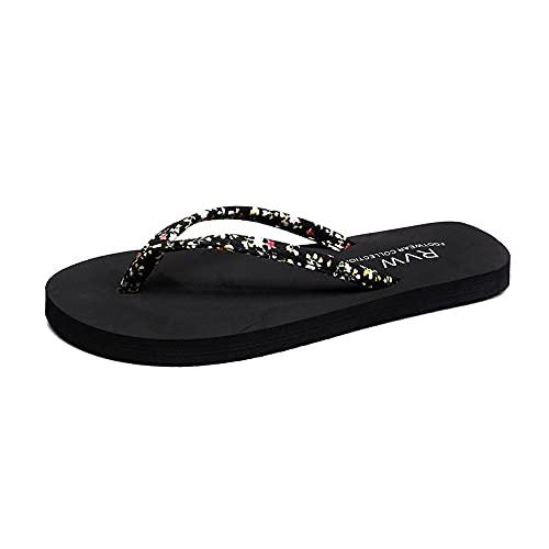 ZHIZI Chanclas Sandalias y Zapatillas de Damas de Banda Estrecha Lace Flip-Flobs Flip-Summer Top Flip Sandals (Color : Black, Size : US7.5/EU39/UK5.5)