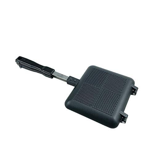 34.5 * 15cm doble parrilla del lado del sartén de aluminio utensilios de cocina al aire libre de la herramienta de la crepe sandwichera cocina de la 1PC (Color : Black)