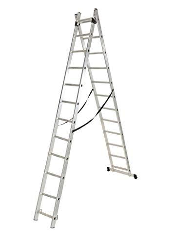 Escalera industrial doble y extensible de 13 peldaños