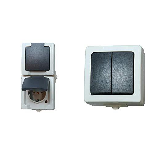 Kopp Nautic Steckdose für Feuchtraum, Aufputz, 250V (16A), 2-fach Schutzkontakt-Steckdose mit Deckel, grau & Nautic Serienschalter mit 2 Wippen, Aufputz, 250V (10A), IP44, grau