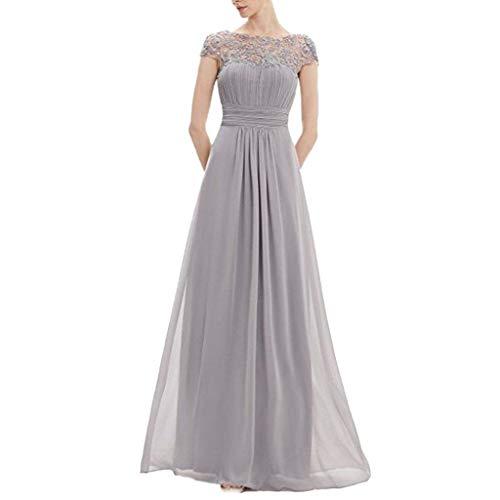 Voicry Frauen Blumen Formale Spitze Vintage Kurzarm schlanke Hochzeit Maxi-Kleid (Grau,EU:40/CN:XL)