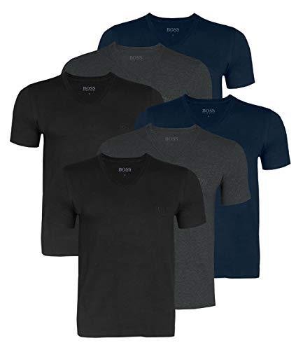 Hugo Boss Herren T-Shirts Business Shirts V-Neck 50416538 6er Pack, Farbe:Mehrfarbig, Größe:M, Artikel:-497 Black/Navy/Grey