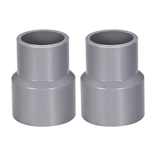 Sourcing map PVC DWV Réduction de couplage Calendrier 40 Gris 32 mm x 40 mm Douille 2 pièces