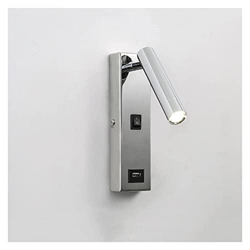 YAN FEI Iluminación accesorio ángulo ajustable pasillo pasillo proyector Hotel habitación dormitorio cabecera lámpara de pared 3 W nuevo con interruptor USB puerto de carga dormitorio lámpara de pared