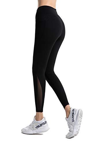 PIZOFF Damen Sport Legging Hose mit Taschen Blickdicht Gym Sporthose Laufen Fitness Yogahose,L,Schwarz