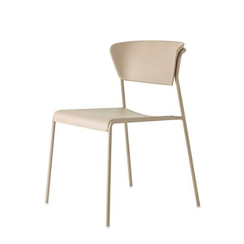 Set 4 sedie lisa tecnopolimero go green SCAB (verniciato tortora scocca tortora)