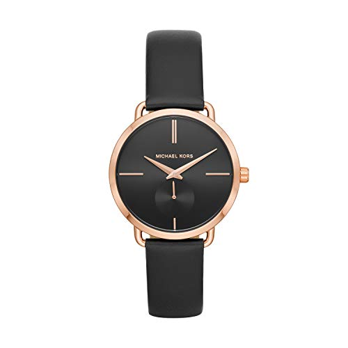 Michael Kors Portia 36. 5mm watch features a black sunray dial with rose gold-tone stick indexes, three-hand movement and black leather strap. 37mm case, 16mm band width, mineral crystal, Quartz movement with three hand analog display, imported Round...