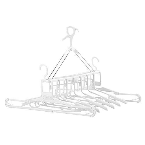 レック 隠し技! 8連ハンガー (衣類ハンガー 6本 + 伸縮タオルハンガー 2本) バスタオルも衣類も同時干し!