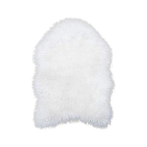Mamum Laine Tapis 55X80cm Faux Peau de Mouton Imitation Toison Moquette Peau d'agneau Tapis Fluffy Soft Longhair Décoratif Coussin de Chaise Canapé Natte (Blanc)