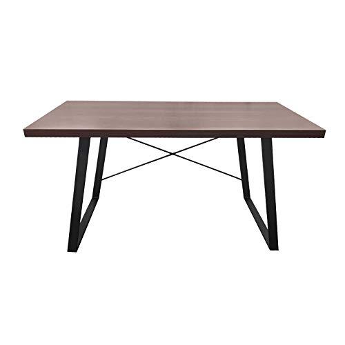 SVITA Industrial Schreibtisch Nussbaum-Optik Schwarze Metall-Beine Computertisch Bürotisch Arbeitstisch PC Tisch