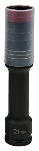 KS Tools 515.0619 - Douille à chocs 6 pans extra-longue pour jantes aluminium - Gamme SlimPOWER, 21 mm - Spécial montage/démontage de roue - En Chrome-Molybdène - Rouge