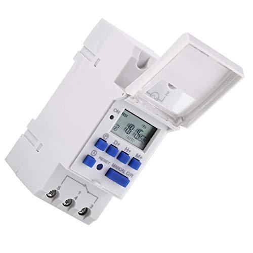 Busirde DC AC Digital LCD Temporizador programable Tiempo del relé cambian THC15A electrónico semanal 7 Días Temporizador White AC/DC 12V