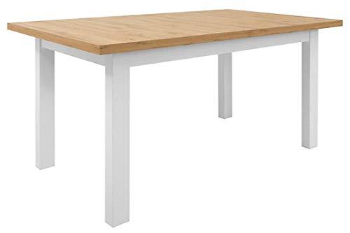 Mesa de comedor rectangular extensible Erla para Kiitchen, comedor, sala de estar, decoración de roble, 90 x 76,5 x 160 – 200 cm