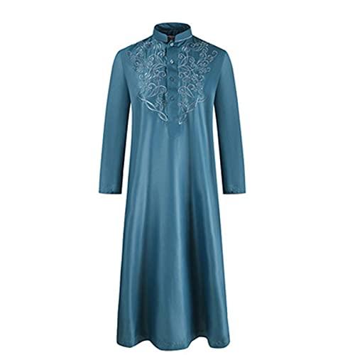 Suncolour Bata Musulmana de Arabia para Hombre, Bata Larga islámica árabe de Dubai para Hombre, Vestido Bordado, caftán de Arabia Jubba Thobe