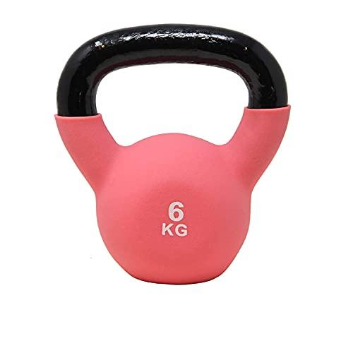 POWRX Kettlebell Hierro Fundido 6 kg - Pesa Rusa con Revestimiento de Neopreno + PDF Workout (Rosa)