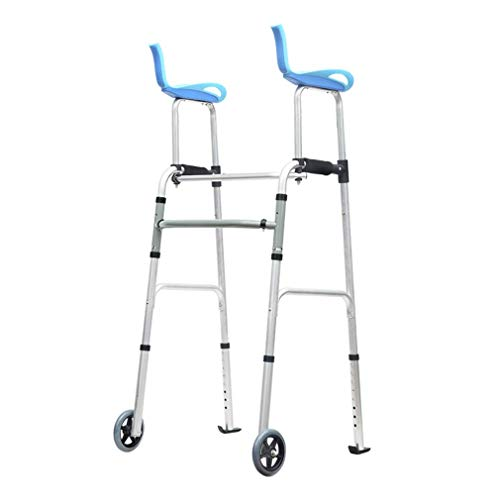 Stand Upright Walkers for Seniors Arm Support, Elderly Rollator Walker with Seat and Wheels, Adjustable Walking Aids with Seat for Disabled Limited Mobility, Foldable 2 Wheels Walkers, Only 3kg ,B