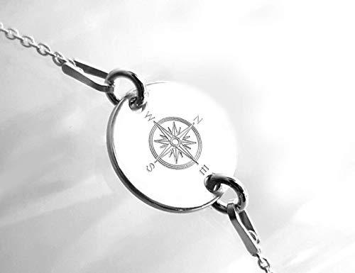 Kompass Armband mit Gravur, Koordinaten, Wunschtext, Silber 925