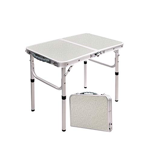 RedSwing Small Folding Table Portable 2 Feet, Small Foldable Table Adjustable Height, Lightweight Aluminum Camping Table, 23.6'x15.7'x10.2'/19'
