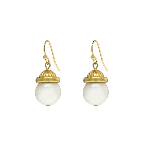1928 Jewelry, 23687, Gold-Tone Simulated Pearl Drop Earrings, Off-White