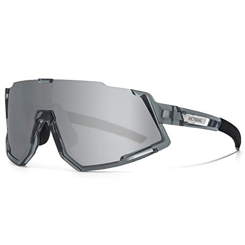 VICTGOAL Fahrradbrille Sportbrille Polarisierte UV400 Schutz mit 3 Wechselgläser Leichte Sonnenbrille für Herren Damen zum Radfahren Wadern Laufen (Grau)