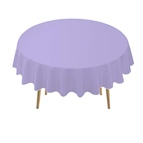 Lavender Plastic Tablecloths 2 Pack Lilac Disposable Table Covers 84 Inch Circle Bridal Shower Party Tablecovers PEVA Mauve Table Cloths for BBQ Picnic Birthday Wedding Parties 6 ft Round Table Use