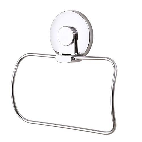 Porta asciugamani ad anello ventosa quadrato in acciaio inox, stile moderno