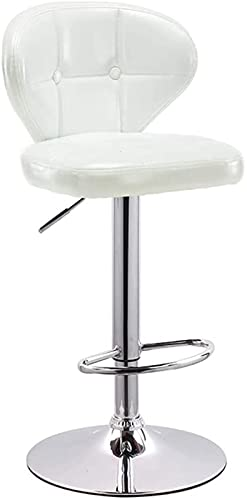 Taburetes de bar ajustables, silla de bar, taburete alto, silla de respaldo, libre de rotar (63 a 83 cm), sillas de bar (color blanco, tamaño: 38,5 cm)