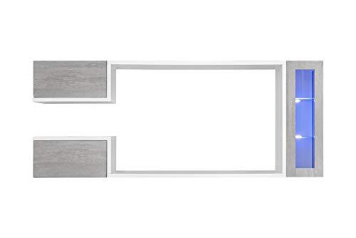 Sinaloa Parete Attrezzata Soggiorno Mobile TV con Vani Pensili in Legno e Vetrina Illuminata, Base Televisione Salotto Sala da Pranzo Design Moderno 235 x 95 x 530 Cm Colore Grigio Cemento e Bianco