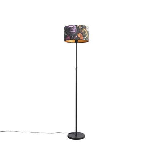 QAZQA Klassiek/Antiek Vloerlamp zwart met velours kap bloemen 35 cm - Parte Stof/Staal Cilinder/Langwerpig/Rond Geschikt voor LED Max. 1 x 60 Watt